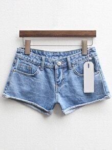 Cuffed Denim Slim Shorts