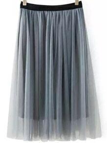 High Waist Mesh Pleated Grey Skirt
