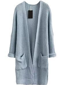 With Pockets Long Blue Cardigan