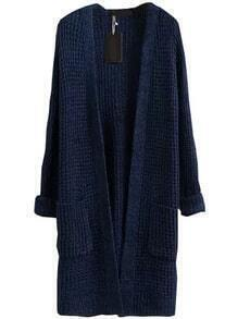 With Pockets Long Navy Cardigan