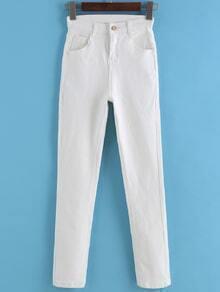 High Waist Slim White Pant