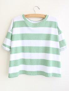 Striped Loose Green T-shirt