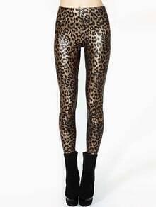Elastic Waist Leopard Print Slim Leggings