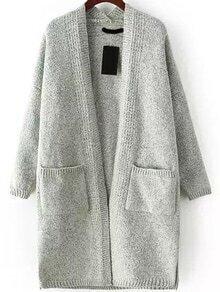 With Pockets Knit Dark Grey Cardigan