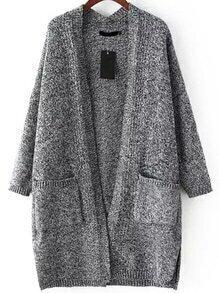 With Pockets Knit Grey Cardigan