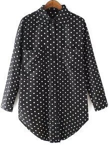 Lapel With Pockets Polka Dot Blouse
