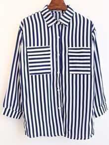 Lapel With Pockets Vertical Striped Chiffon Blouse