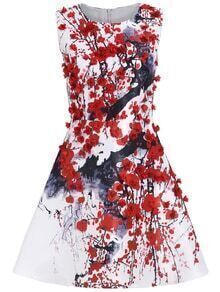 Sleeveless Ink Print Applique Flare Dress