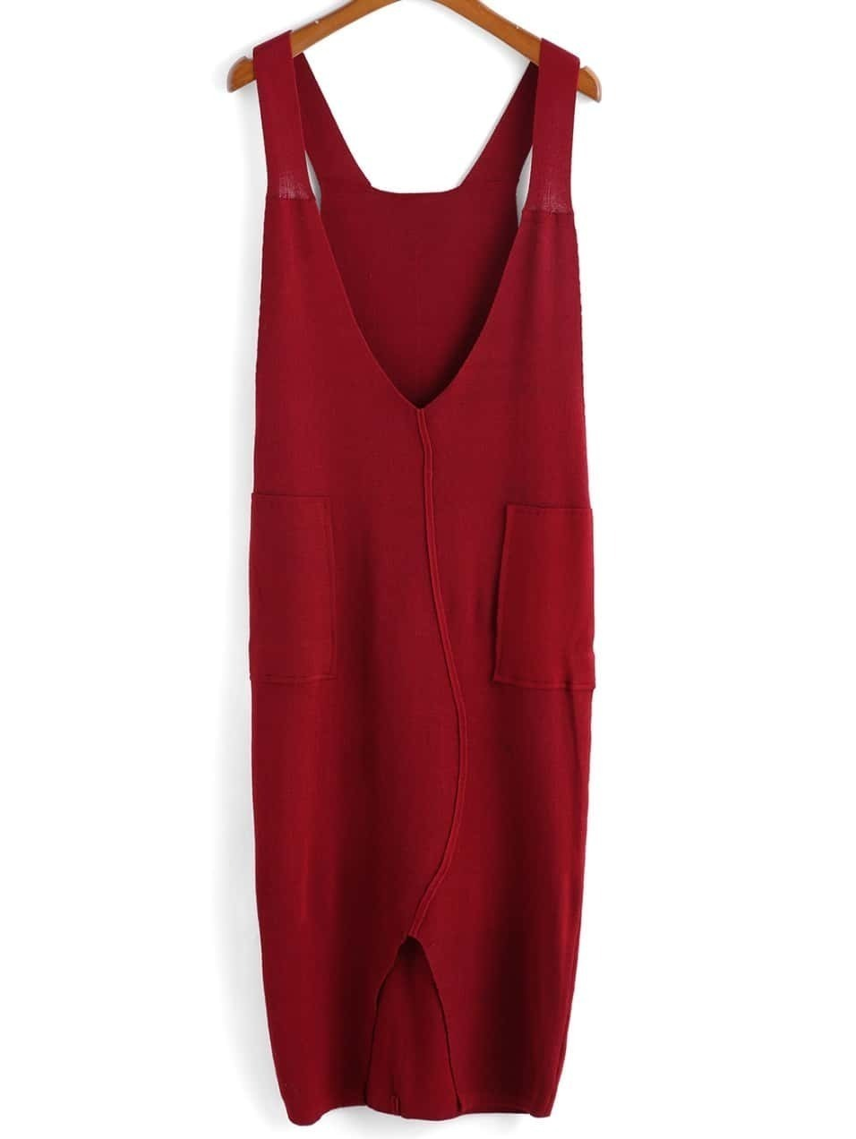 Robe col v fonc avec poches fendue rouge french romwe for Interieur paupiere inferieure rouge