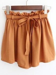 Drawstring Wide Leg Chiffon Shorts