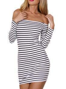 Off The Shoulder Striped Bodycon Dress