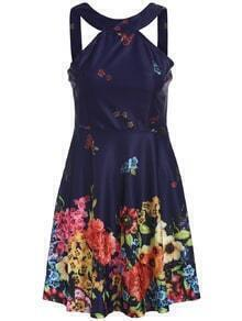 Strap Florals Pleated Dress