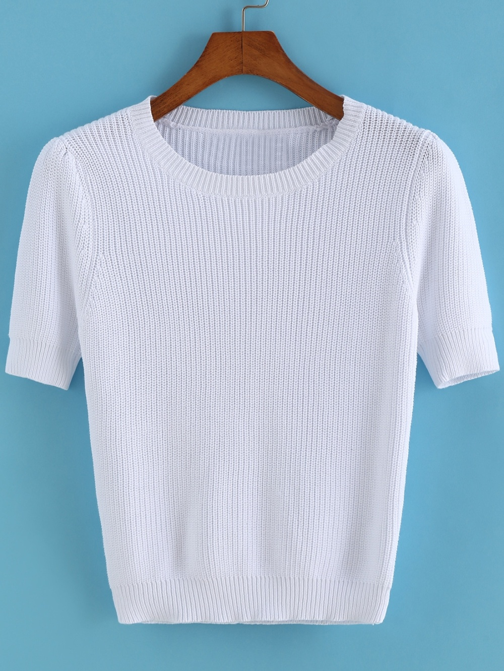 Short Sleeve Knit White Sweater
