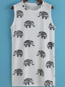 White Round Neck Elephant Print Tank Dress