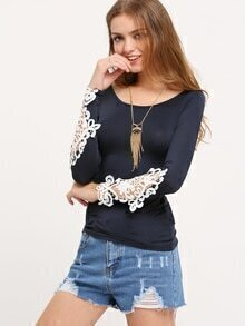Navy Scoop Neck Lace Long Sleeve Slim Blouse