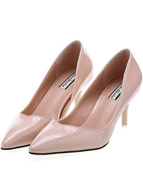 Beige Point Toe Patent Leather High Heeled Pumps