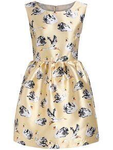 Sleeveless Swan Print Flare Yellow Dress
