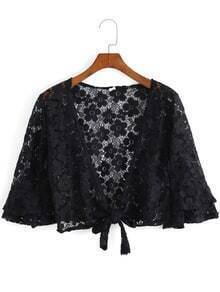Half Sleeve Knotted Lace Crop Black Top