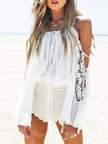 White Long Sleeve Off The Shoulder Crochet Lace Blouse