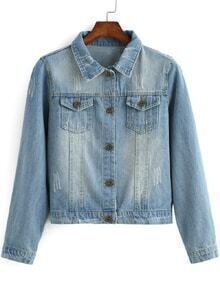 Lapel With Pockets Bleached Denim Coat