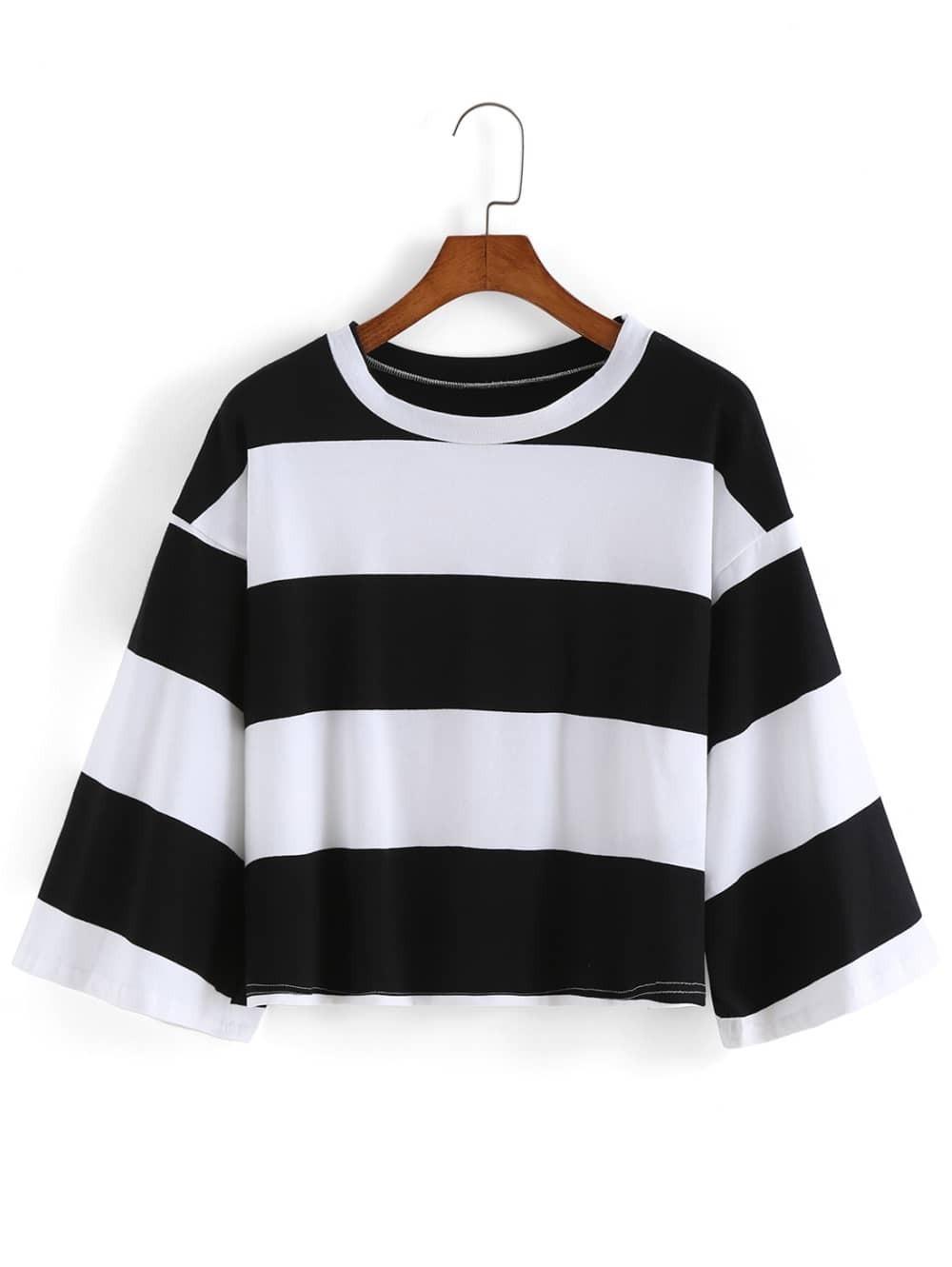Bell sleeve striped crop black t shirtfor women romwe for Bell bottom sleeve shirt
