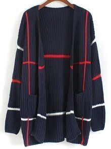 With Pockets Striped Knit Navy Cardigan