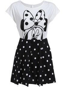 Mickey Print Top With Polka Dot Skirt