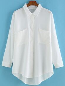 Dip Hem Lapel With Pockets White Blouse