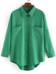Dip Hem Lapel With Pockets Green Blouse