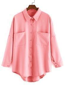 Dip Hem Lapel With Pockets Pink Blouse