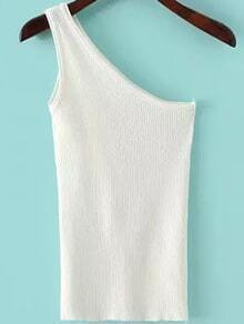 One-Shoulder Knit White Tank Top