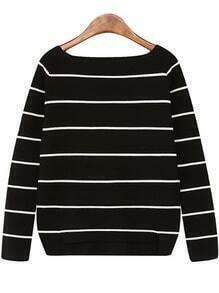 Boat Neck Striped Black Sweater