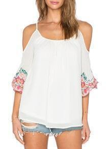 Beige Off The Shoulder Embroidered Blouse