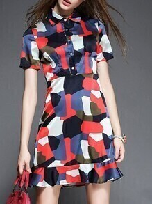 Lapel Peplum Hem Camouflage Dress