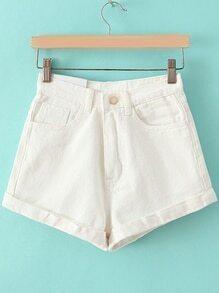 Cuffed Slim White Shorts
