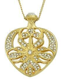 Gold Latest Design Pretty Women Rhinestone Heart Pendant Necklace
