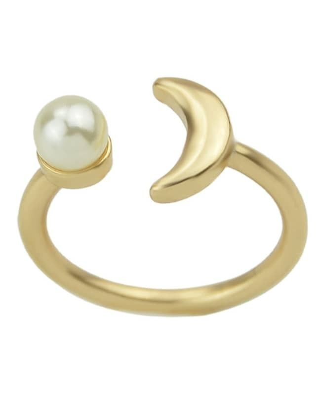 Gold Fashion Simple Women Cuff Moon Ring
