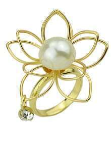 Fashion Simple Imitation Pearl Big Flower Ring