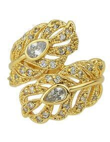 Fashion Gold Plated Rhinestone Women Leaf Ring