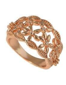 Fashion Simple Rhinestone 18K Rose Gold Plated Ring