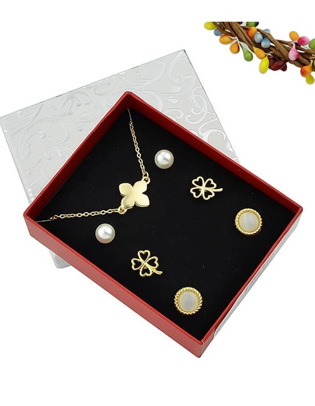 Gold Plated Flower Shaped Necklace Earrings Fashion Jewelry Set - $5.49