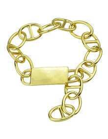Alloy Gold Plated Wide Chain Braceklet
