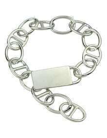 Alloy Silver Plated Wide Chain Braceklet