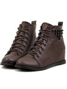 Brown Lace-Up Studded Boots