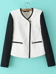 Contrast Sleeve Zipper Coat
