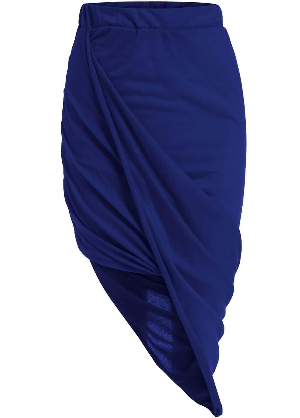 blue high waist asymmetrical bodycon skirt