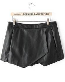 Black Casual Asymmetrical Shorts