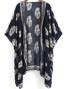 Kimono décontracté floral -bleu marine