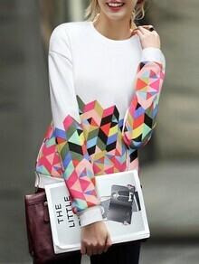 Geometric Print Loose Sweatshirt