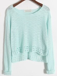 Dip Hem Green Sweater